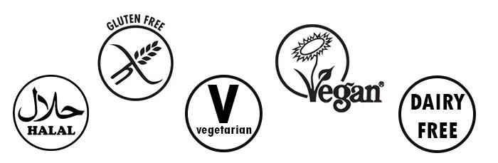 A series of symbols to show which dietary requirements we can cater for.