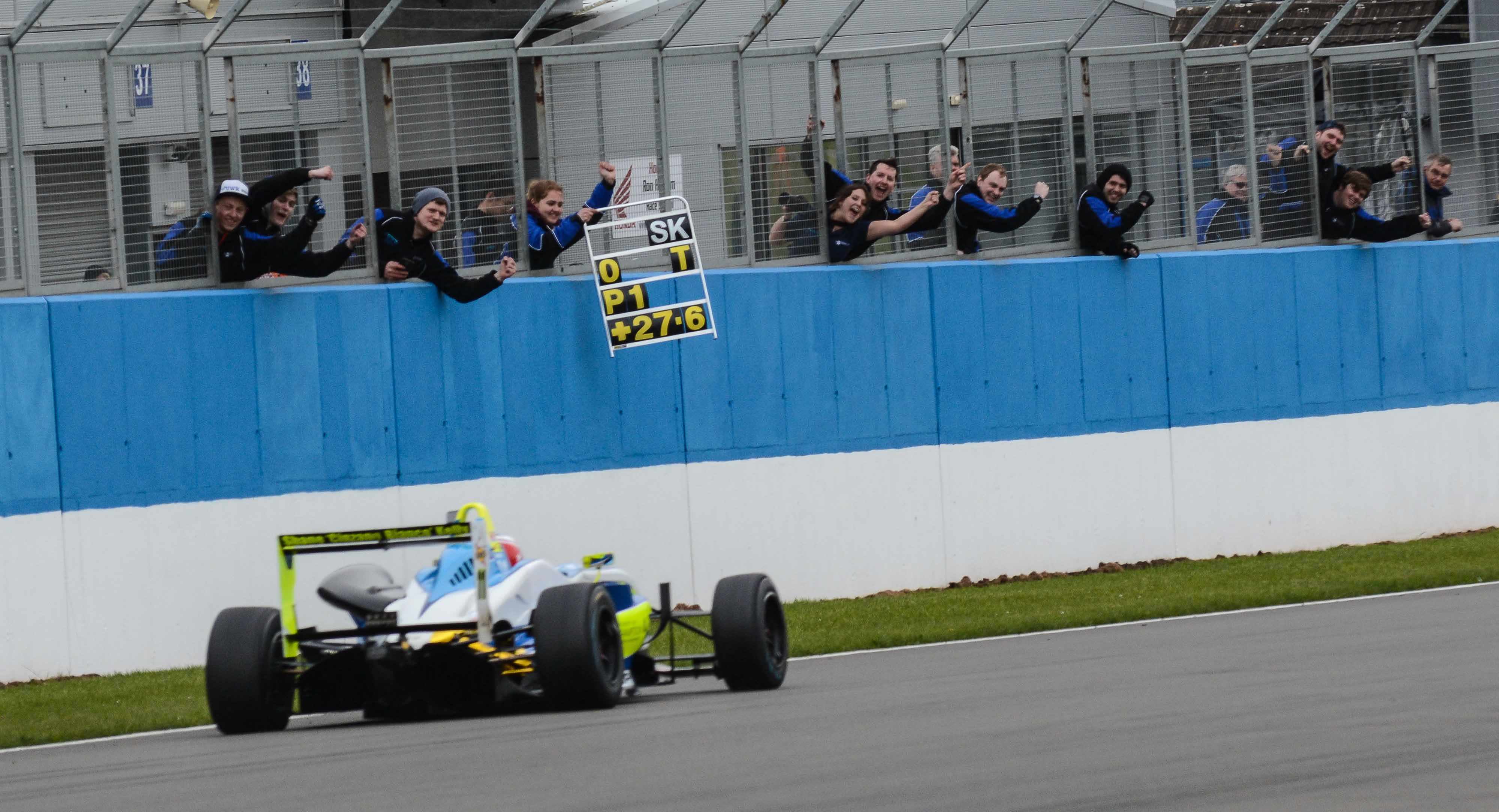 UWR students cheer the F3 car as it comes pass the pit wall