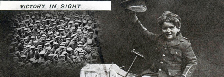 A British patriotic postcard captioned 'Victory in sight', The Army Children Archive, reproduced under a Creative Commons License (https://creativecommons.org/licenses/by-sa/3.0/) layered over photograph of amassed German prisoners, France, World War One, National Library of Scotland, reproduced under a Creative Commons License (https://creativecommons.org/licenses/by-nc-sa/4.0/legalcode).