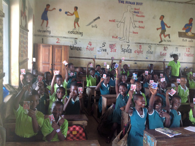 Children who were involved in the inaugural Match Attax Swap Club put all the cards that they had doubles of together and gave them to children in Ghana through the Leadership for Learning: The Cambridge Network