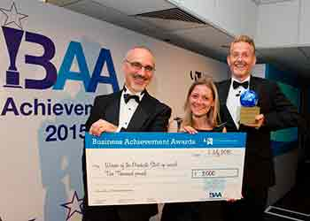 Left to right University's Finance Director Andy Holding, Lucy Taylor of Sensory Wise and Dave Keeling
