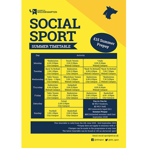 Sport summer timetable