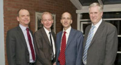 Left to right: Professor Geoff Layer, Vice-Chancellor; Pat McFadden MP; Lord Andrew Adonis; Sir Geoff Hampton, Deputy Vice-Chancellor