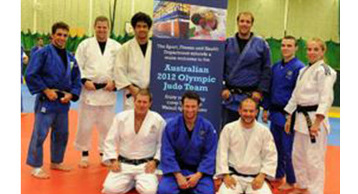 Members of the Australian Olympic Judo Team with Dave Elmore of the University of Wolverhampton.