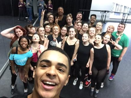 University of Wolverhampton first year Musical Theatre students at the Performance Hub, Walsall Campus, were given dance tips by acclaimed actor and dancer, Layton Williams.