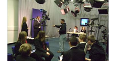 Students from Moseley Park School, Northicote School, Smestow School and Highfields School preparing and producing a news broadcast.