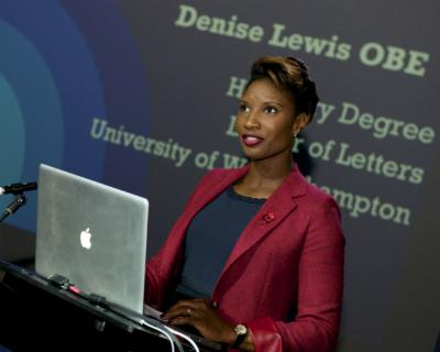 Denise Lewis launching the Institute of Sport at the University